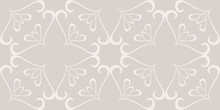 Background Pattern With Floral Ornament Seamless On Gray Background, Vector Graphics