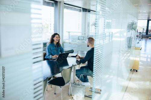 Job interview in office boardroom