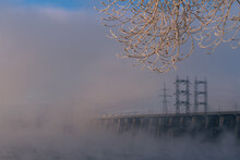 Hydroelectric Power Station On A Misty Day