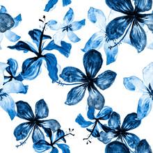 Navy Tropical Exotic. Blue Seamless Botanical. Cobalt Pattern Illustration. White Flower Foliage. Gray Spring Exotic. Azure Flora Plant. Indigo Decoration Texture.