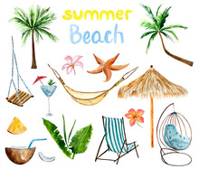 Watercolor Set On A Summer And Beach Theme With Palm Trees, Leisure Items, Swing, Coconut, Tropical Flowers And Leaves.