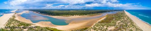 Ultra wide aerial panorama of ocean coastline in Australia