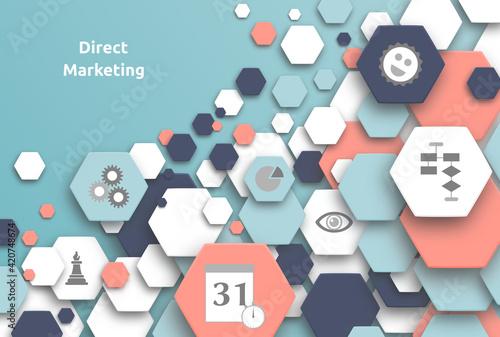 Fotografia Direct Marketing. Text mit Hexagons und Icons.