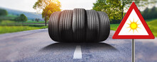 "Summer Car Tires On The Street Outside With Traffic Sign ""summer"""