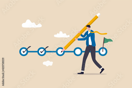 Fototapeta Project tracking, goal tracker, task completion or checklist to remind project progress concept, businessman project manager holding big pencil to check completed tasks in project management timeline. obraz