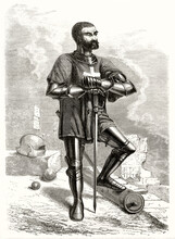 Knight Of Rhodes Posing With Armor Supporting Himself With The Sword And Uncovered Head No Helm. Pose Suggests Loyalty And Braveness. Grey Tone Etching Style Art By Pannemaker, Le Tour Du Monde, 1862