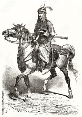 Tela Kurdish knight on horse abreast equipped with light armor, helm and saber inside scabbard