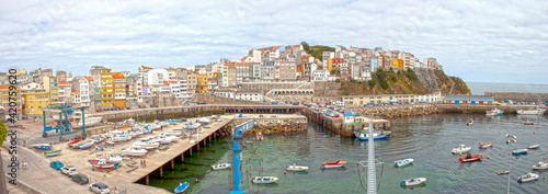 view of malpica harbour in Galicia, Spain