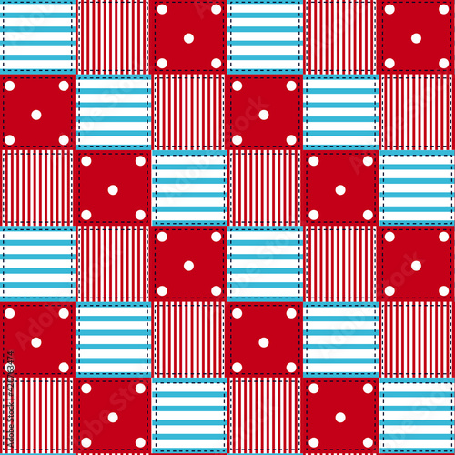 Obraz na plátně Seamless pattern with stripes and polka dots