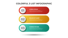 Colorful 3 Points Of List Diagram, Infographic Element Template Vector.