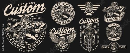 Canvas Custom motorcycle vintage labels set