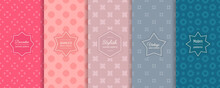 Vector Geometric Seamless Patterns Collection. Set Of Bright Colorful Background Swatches With Elegant Minimal Labels. Cute Abstract Textures. Modern Spring Design. Blue, Teal, Lilac, Pink Color