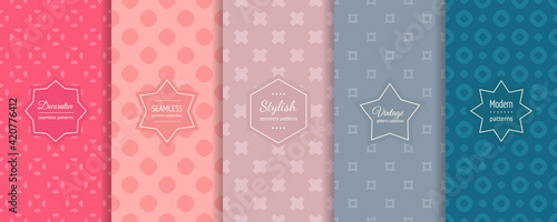 Vector geometric seamless patterns collection. Set of bright colorful background swatches with elegant minimal labels. Cute abstract textures. Modern spring design. Blue, teal, lilac, pink color - fototapety na wymiar
