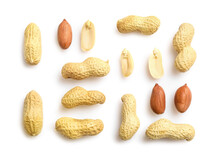 Unpeeled And Peeled Peanuts Isolated On White