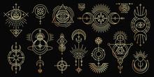 Vector Golden Set Of Mystical Magic Symbols. Spiritual Occultism Line Objects With Sun, Moon, Stars, Eyes, Sunburst, Tribal. Trendy Minimal Style.