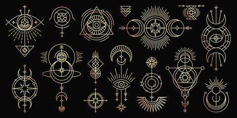 Vector golden set of mystical magic symbols. Spiritual occultism line objects with sun, moon, stars, eyes, sunburst, tribal. Trendy minimal style.