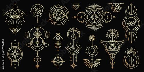 Fotografia, Obraz Vector golden set of mystical magic symbols
