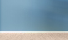 Light Blue Textured Wall And Wooden Floor In Empty Room For Displaying Your Product, Light Coming Through Window.