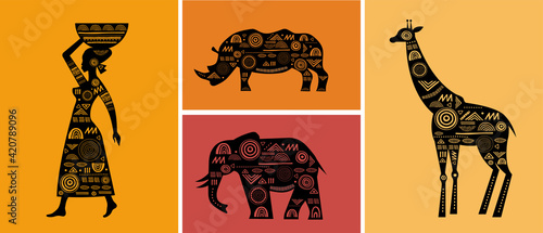 Fotografía Africa banner with elements - patterned giraffes, elephant, African map, woman a
