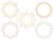 破線とドットの円形フレームセット(カラフル)