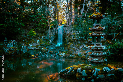 Fotografie, Obraz Beautiful melancholy gardens and waterfalls