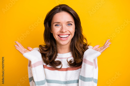 Fotografie, Tablou Portrait of attractive cheerful glad girl having fun good mood isolated over bri