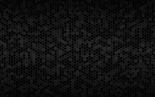 Dark Widesreen Background With Hexagons With Different Transparencies. Modern Black Geometric Design. Simple Vector Illustration