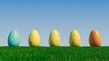 Easter Eggs On A Grass Lawn, With A Clear Blue Sky. Beautiful Yellow, Aqua And Orange Eggs With Circle And Ring Patterns. 3D Render