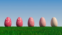 Easter Eggs On A Grass Lawn, With A Clear Blue Sky. Beautiful Pink Eggs With Spotted And Triangle Patterns. 3D Render