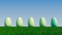 Easter Eggs On A Grass Lawn, With A Clear Blue Sky. Beautiful Green, And Aqua Eggs With Polka Dot, Circle And Ring Patterns. 3D Render
