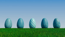 Easter Eggs On A Grass Lawn, With A Clear Blue Sky. Beautiful Teal, And White Eggs With Striped, Floral And Diamond Patterns. 3D Render
