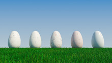 Easter Eggs On A Grass Lawn, With A Clear Blue Sky. Beautiful White, And Pastel Eggs With Spotted, Circle And Ring Patterns. 3D Render