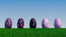 Easter Eggs On A Grass Lawn, With A Clear Blue Sky. Beautiful Violet, Purple And Pink Eggs With Spotted And Triangle Patterns. 3D Render