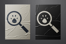 White Paw Search Icon Isolated On Crumpled Paper Background. Magnifying Glass With Animal Footprints. Paper Art Style. Vector