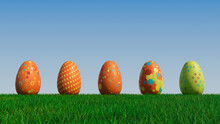 Easter Eggs On A Grass Lawn, With A Clear Blue Sky. Beautiful Green, Orange And Blue Eggs With Spotted And Floral Patterns. 3D Render