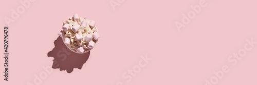 Fototapeta Milky cream cupcake. Birthday sweet bakery. Cookies. Yummy buttercream dessert. Wedding party food. Pink background. Holiday recipe. Anniversary gourmet. One piece. Trendy obraz