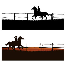 Boy And Girl Wearing Cowboy Hats Riding Running Horses Behind Wooden Paddock Fence - Ranch Kids Vector Silhouette Set