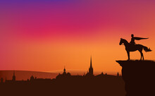 Fairy Tale King Or Prince Riding Horse On A Cliff Above Medieval City - Vector Silhouette Of Fantasy Or Legend Scene