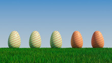 Easter Eggs On A Grass Lawn, With A Clear Blue Sky. Beautiful Red, Green And Orange Eggs With Polka Dot Patterns. 3D Render