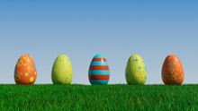Easter Eggs On A Grass Lawn, With A Clear Blue Sky. Beautiful Green, Orange And Blue Eggs With Triangle And Floral Patterns. 3D Render