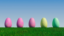 Easter Eggs On A Grass Lawn, With A Clear Blue Sky. Beautiful Yellow, Pink And Green Eggs With Floral And Triangle Patterns. 3D Render