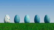 Easter Eggs On A Grass Lawn, With A Clear Blue Sky. Beautiful Teal, And White Eggs With Spotted And Floral Patterns. 3D Render