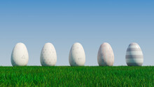 Easter Eggs On A Grass Lawn, With A Clear Blue Sky. Beautiful White, And Pastel Eggs With Floral, Triangle And Striped Patterns. 3D Render