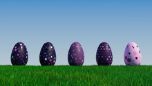 Easter Eggs On A Grass Lawn, With A Clear Blue Sky. Beautiful Violet, Purple And Pink Eggs With Floral And Spotted Patterns. 3D Render
