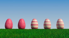 Easter Eggs On A Grass Lawn, With A Clear Blue Sky. Beautiful Pink Eggs With Striped And Diamond Patterns. 3D Render