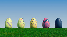 Easter Eggs On A Grass Lawn, With A Clear Blue Sky. Beautiful Yellow, Navy And Pink Eggs With Spotted And Polka Dot Patterns. 3D Render