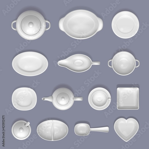 Fotografia White empty ceramic crockery mockup set, vector top view isolated illustration