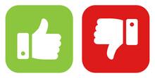 Green Good Thumb Up And Red Bad Thumb Down Sign. Vector Illustration