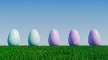 Easter Eggs On A Grass Lawn, With A Clear Blue Sky. Beautiful Purple And Aqua Eggs With Spotted, Floral And Polka Dot Patterns. 3D Render