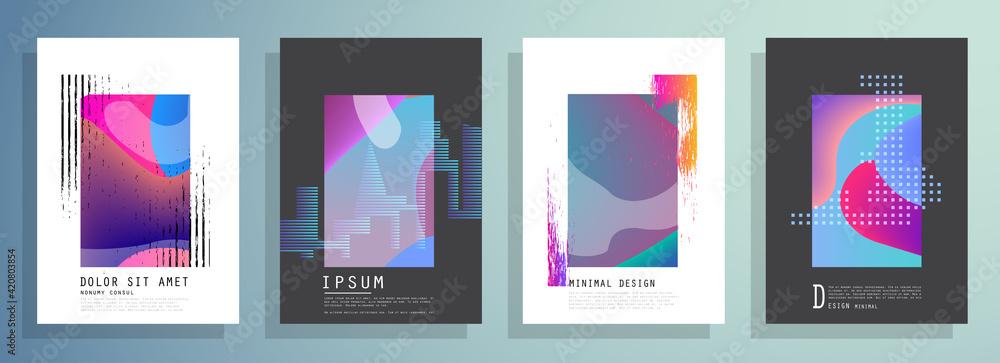 Fototapeta Artistic covers design. Creative colors backgrounds. Trendy futuristic design - obraz na płótnie